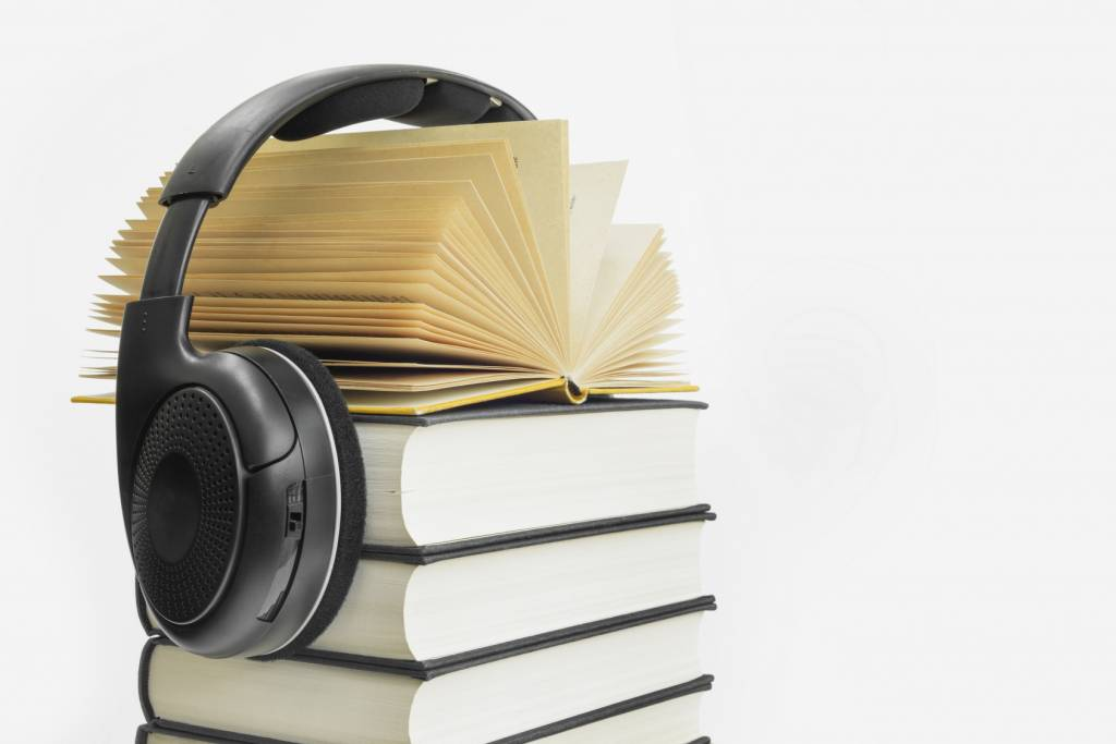 Group-of-Books-with-Headphones